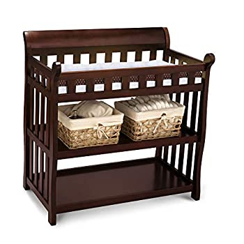 Image of Baby Delta Children Eclipse Changing Table with Changing Pad, Black Cherry