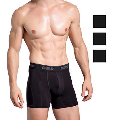(Comfneat Soft Bamboo Spandex Men's Boxer Briefs 3 Pack Breathable Underwear (All Black, XL))