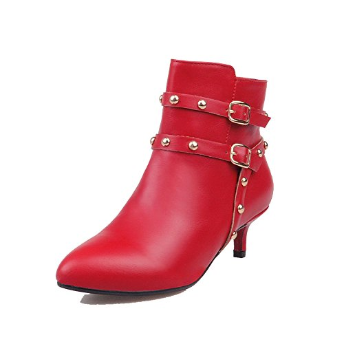 AmoonyFashion Low Boots Red top Solid Zipper Kitten Women's Heels PU r8wrR