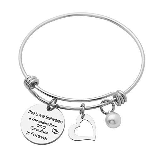 Kingmaruo Grandma Gift The Love Between A Grandmother and Grandson/Granddaughter is Forever Expendable Bangle Bracelet (Grandmother & Grandson) by Kingmaruo (Image #3)