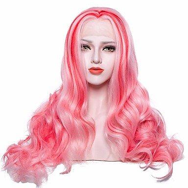 Peluca de mujer de encaje sintético frontal de pelo largo ondulado rosa + rojo con peluca