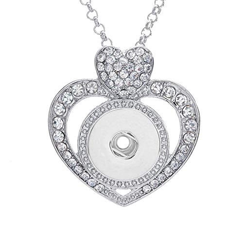(Double Heart Pave CZ love snap button necklace (fit 18mm 20mm snaps))