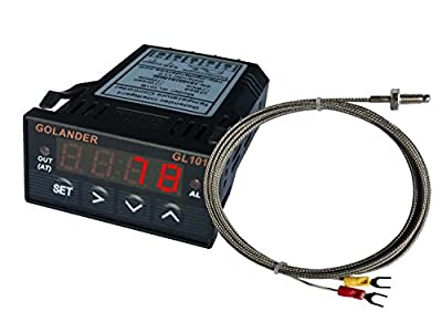 12V/24V DC Powered Universal 1/32 DIN PID Temperature Controller, Red with K Thermocouple