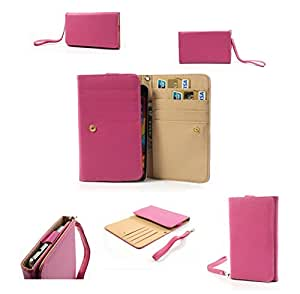 DFV mobile - Smooth synthetic leather cover premium with card case for > triu n3 nota 3, color rosa