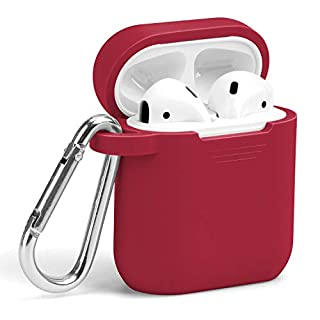 AirPods Case with Keychain, GMYLE Silicone Protective Wireless Charging Airpods Earbuds Accessories Case Cover Skin with Keychain Set Compatible for Apple AirPods 2 & 1 – True Red