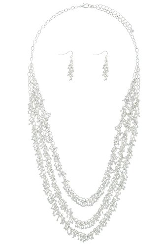 Honora Drop Necklace (BAUBLES & CO MINI TEARDROP CHAIN MULTI STRAND NECKLACE SET (Matted Silver))