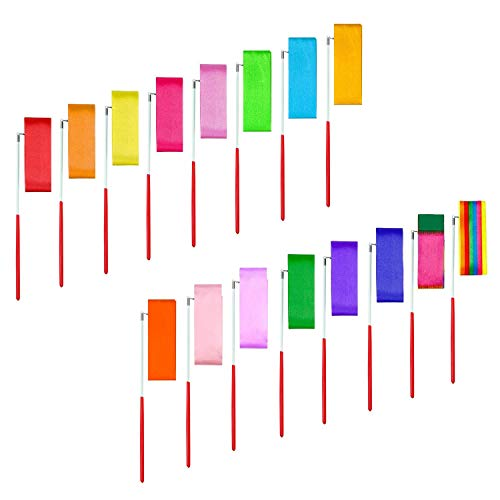 MAGICMAI 16pcs Kids Rhythmic Dance Ribbons Streamers Rhythmic Gymnastics Ribbon Wands Rods for Kids Artistic Dancing, Baton Twirling
