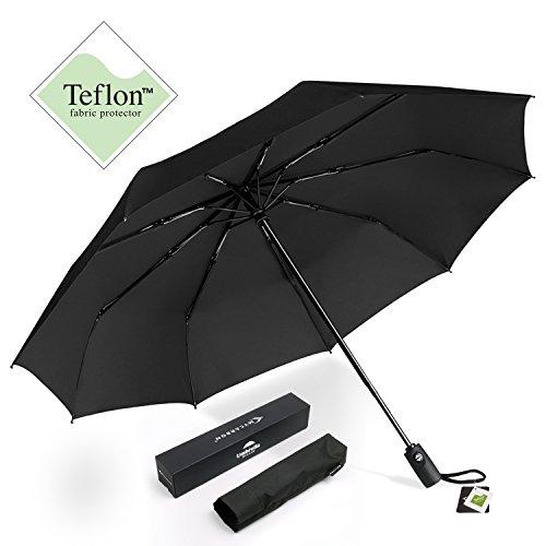 Travel Umbrella MYCARBON Windproof Umbrella 9 Ribs Compact Golf Umbrella Teflon 210T UV Protection UPF 40+ Folding Umbrella Auto Open Close Black Umbrellas for Women Men Perfect as Gift Umbrella