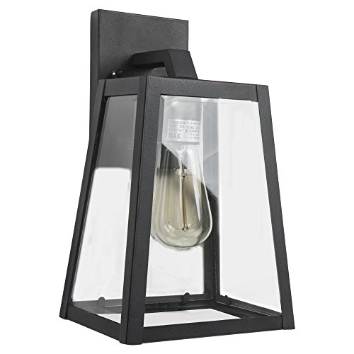Emliviar Outdoor Wall Lantern, 1-Light Exterior Wall Light, Black Finish with Clear Bevel Glass, (Black Large Wall Lantern)