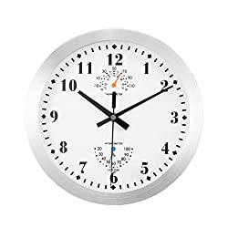 COZIME Non-ticking Quartz Wall Clock 10 Inches With Thermometer and Hygrometer Display Function ,Aluminiums Decor Clock