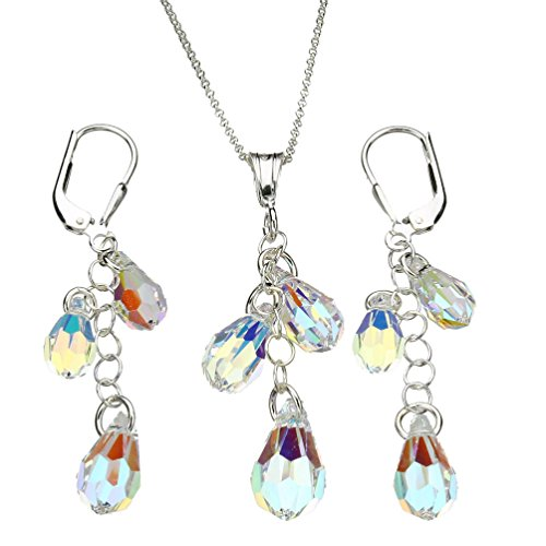- Sterling Silver Chain Necklace Earrings AB Multi-Teardrop Pendant Made with Swarovski Crystals 16