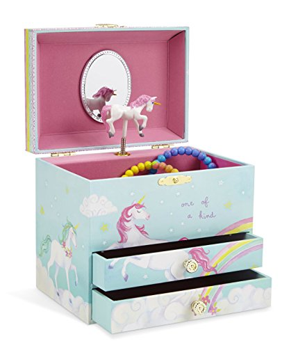 JewelKeeper Unicorn and Rainbow Musical Jewelry Box with 2 Pullout Drawers, The Unicorn Tune