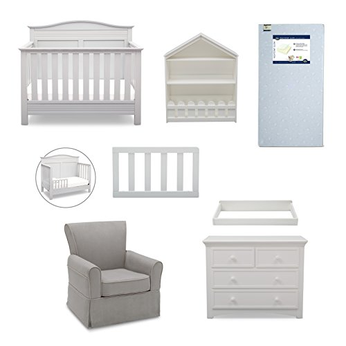Serta Barrett 7-Piece Nursery Furniture Set with FREE Baby Monitor (ships separately) (Convertible Crib, Toddler Rail, Dresser, Changing Top, Bookcase, Crib Mattress, Glider)