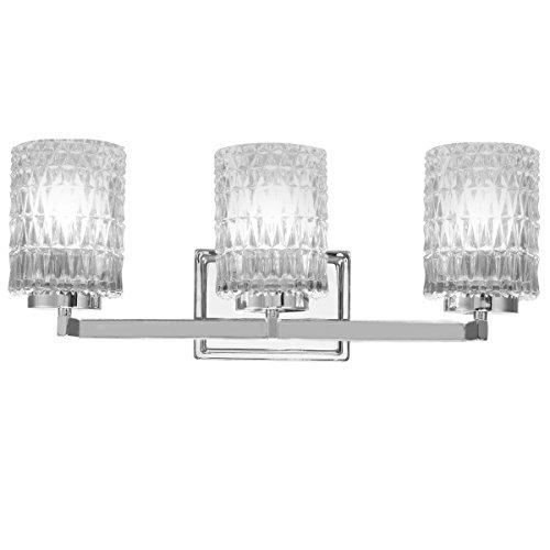 - Tangkula 3-Light Vanity Light Wall Mounted Brushed Chrome Finish Glass Shade Bathroom Bedroom Wall Sconces UL E26