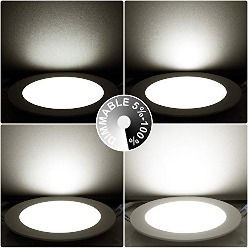 100W Equiv No Flickering Dimmable Air Tight 12W Ceiling Light Pack of 6 Drart 6 Ultra-Thin Recessed Lighting Low Profile Slim Panel Downlight with Junction Box 5000K ETL/& Energy Star Listed