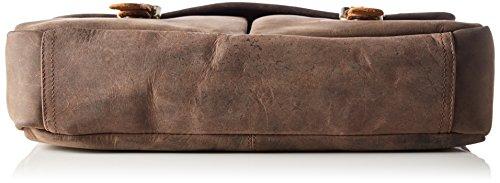 James Tyler Bolso de cuero Manchester de cuero de búfalo encerado, 37 x 29 x 9 cm aprox. coffee vintage