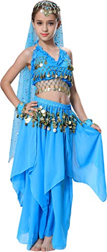 Jasmine Costume for Girls Kids Arabian Nights Costume 4T 4 5 6 7 8 10 12 14 16 M Blue]()