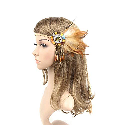 Handmade Retro Indian Style Feather Head Band With Beaded Tassels(light cof I4V1