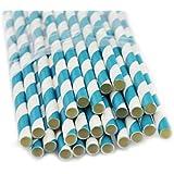 Fun Express Blue Striped Paper Straws - 24 Piece Pack