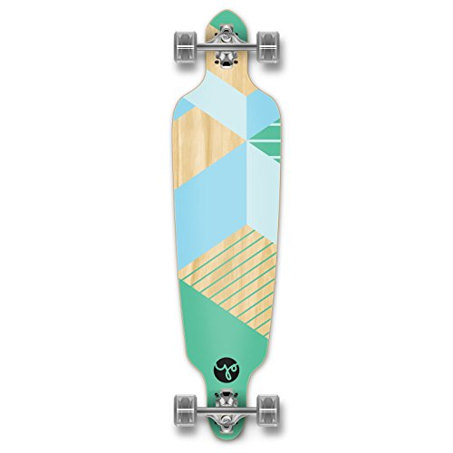 Yocaher Geometric Series Longboard Complete Cruiser and Decks Available for All Shapes (Complete-DropThrough-Green)