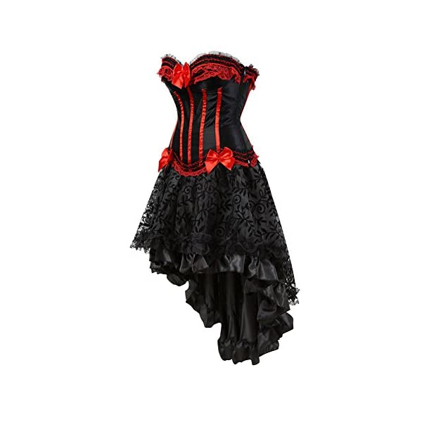 Grebrafan Steampunk Corset Skirt with Zipper,Multi Layered High Low Outfits 5