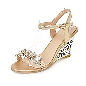 LvYuan Mujer-Tacón Cuña-Zapatos del Club-Sandalias-Boda Oficina y Trabajo  Vestido-PU-Plata Oro f8bd0d7e3302