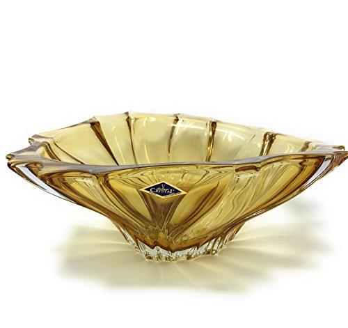 (Czech Bohemian Crystal Glass Bowl-Vase ''Plantica'' Amber-Yellow Dia-12'' Decorative Wedding Gift Elegant Centerpiece Vintage European Design Fruits Candies Desserts Flower Classic Crystal Glass)