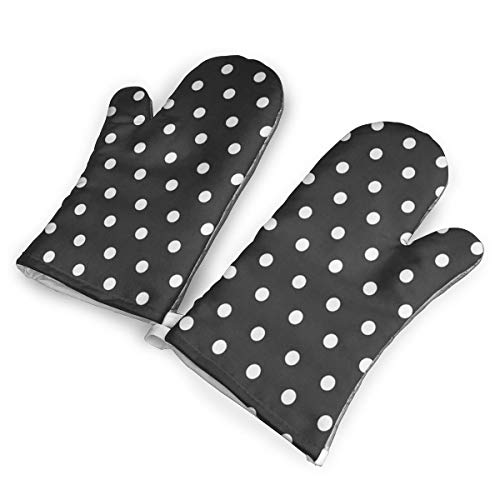 Nuytzs90sd Black and White Polka Dot Oven Mitts Cooking Gloves 480 F Heat Resistant, Non Slip Grip Pot Holders for Kitchen Oven BBQ Grill and Fire Pits for Cooking ()