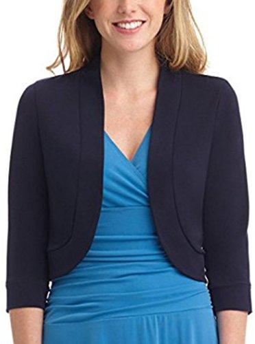Women's 3/4 Sleeve Cropped Open Front Cardigan Draped Shawl Collar Bolero Jacket (S, - Collar 3/4 Sleeve Shawl