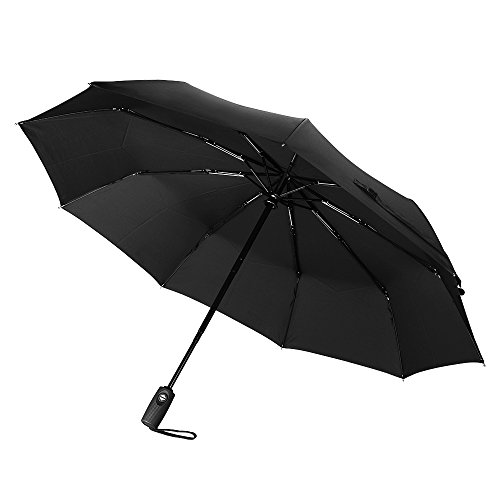 60Mph Windproof Umbrella, TopElek Automatic Extra Strong Umbrella with Reinforced 9 Ribs, Compact Fast Drying Folding Travel Umbrella, Auto Open/Close and Slip-Proof Handle for Easy Carry, Classic Black Umbrella for Men and Women