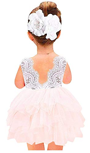 2Bunnies Girl Baby Girl Beaded Backless Lace Back A-Line Tutu Tulle Party Flower Girl Dress (Pink Sleeveless Short, 12 Months)