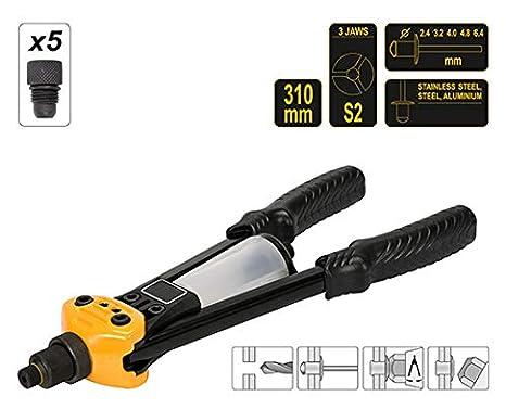 3.2 4.8 4.0 Profi Nietzange-Set L/änge 310 mm mit Nieten 2.4 6.4 mm Hebelnietzange Blindnietzange