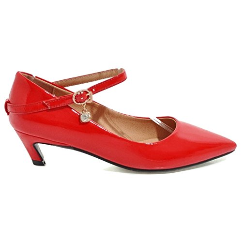 Pointed Toe Fashion with Red Shoes Women Casual Heel Court Shoes for and Kitten SJJH Zwqt16xI