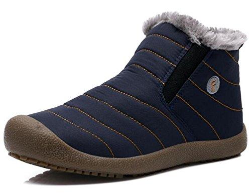 DADAWEN Men Women Slip On Waterproof Outdoor Anti-Slip Fur Lined Ankle Snow Boots Blue Men US Size 10