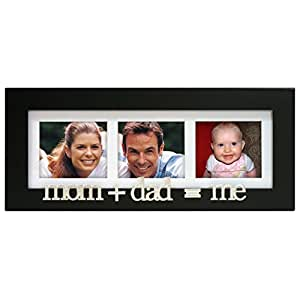 Malden International Designs Mom+Dad=Me Wood Matted Tabletop Collage Picture Frame, 3 Option, 3-4x4, Black