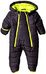 Weatherproof Baby-Boys Newborn Double Zipper Puffer Pram, Charcoal, 3/6 Months