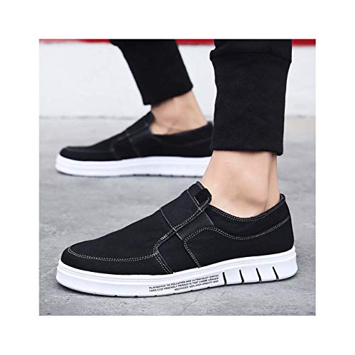 QQFLRB& Summer New Korean Casual Men's Canvas Shoes Non-Slip wear-Resistant Breathable Sneaker Shoes Black 7 -