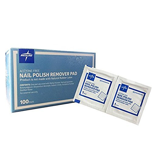 Medline Non-acetone Nail Polish Remover Pads 100/bx by Medline