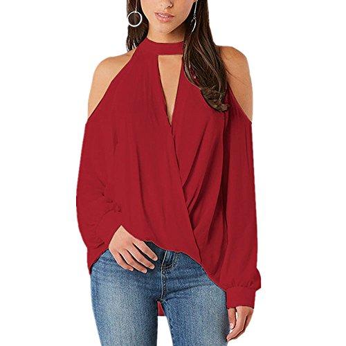 Exlura Womens Cold Shoulder Shirt V Neck Long Sleeve Choker Cross Warp T-Shirt Tops Blouse