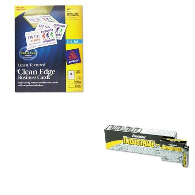 KITAVE8873EVEEN91 - Value Kit - Avery 2-Side Printable Clean Edge Business Cards (AVE8873) and Energizer Industrial Alkaline Batteries (EVEEN91)