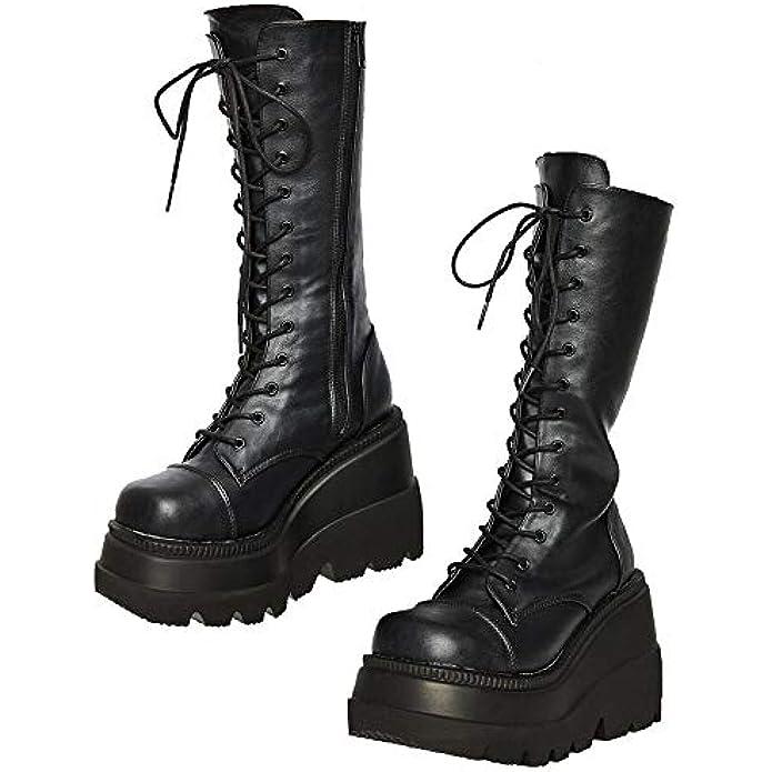 Womens High Platform Mid Calf Wedges Chunky High Heel Round-Toe Side Zip Punk Combat Boots For Women