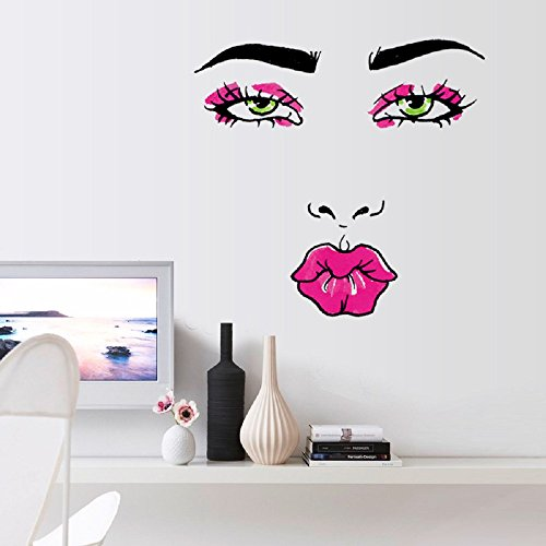 Amaonm Sexy Lips Lady Face Wall Decals Hot Fashion Woman Face Pink Red Lips Wall Stickers Beautiful Eyes Home Decor Art Decals for Living Room Decor Sofa TV Background DIY Art Decals