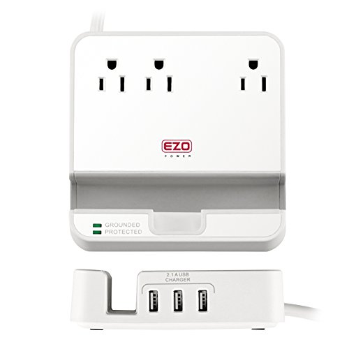 UL LISTED Charger Station - EZOPower Desktop Charging Power Strip Surge Protector with 3 AC Outlets, 3 USB Port 6.3A and Built-in Phone/Tablet Holder Stand Slot for iPhone, iPad, Tablet - White by EZOPower (Image #6)