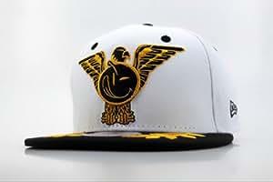 YUMS 9FIFTY Moda hip hop Snapbacks Gorra de béisbol (blanco y negro, logotipo YUMS)
