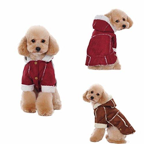 Gatto per Abbigliamento Giacca Cane Inglese con Bottone Angelof Bottone Invernale Cappotto Agnello strati spessi caldo Abbigliamento rosso cane EZ4wwnqO6