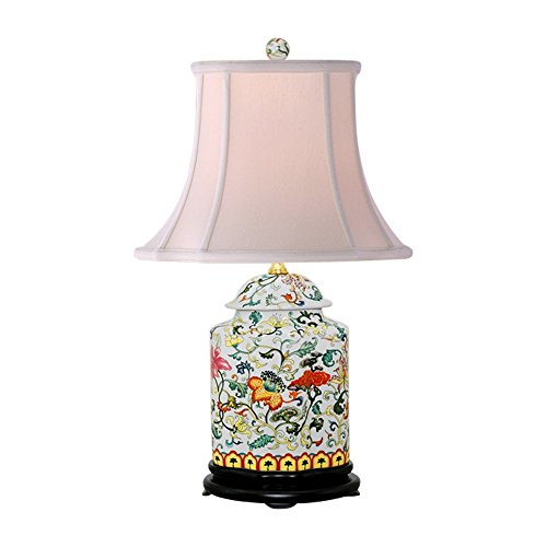 Oriental Chinese Porcelain Floral Scallop Ginger Jar Table Lamp 22