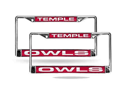 Rico Temple University Owls NCAA Chrome Metal (2) Laser Cut License Plate Frame Set