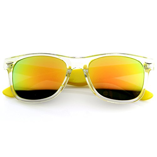 Bright Two-Tone Transluscent Acetate Horn Rimmed Sunglasses w/Color Mirror Lens (Yellow)