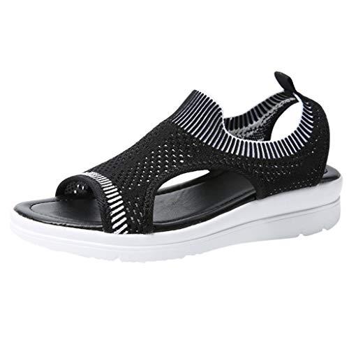 ZOMUSAR New! 2019 Women's Platform Thick Summer Flip Flop Shoes Roman Casual Flock Sandals for Ladies Black