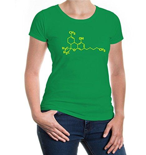 Girlie T-Shirt Structural Formula-Tetrahydrocannabinol kellygreen